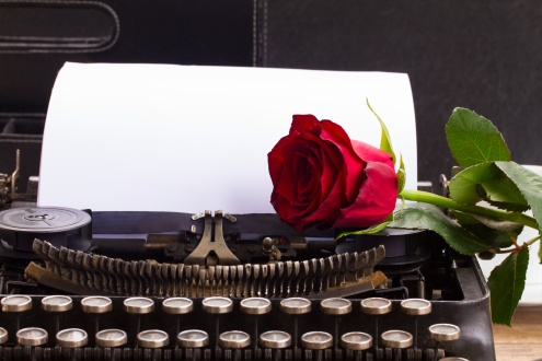 red rose on vintage typewriter with blank page